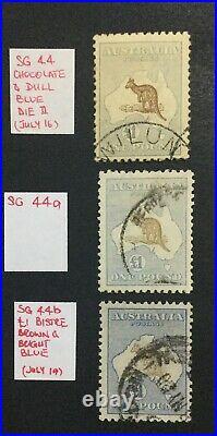 MOMEN AUSTRALIA SG #44,44a, 44b 1915-27 KANGAROO USED £5,200 LOT #60195