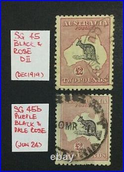 MOMEN AUSTRALIA SG #45,45b 1919,1924 KANGAROO USED £6,000 LOT #60197