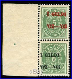 MOMEN ICELAND STAMPS 1902 1 Gildi FACIT#51I-59I MINT OG NH CERT RARE