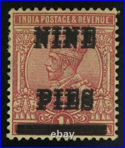 MOMEN INDIA SG #192c 1921 SURCHARGE DOUBLE MINT OG H £300 LOT #62295
