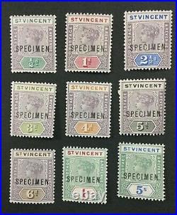 MOMEN ST VINCENT SG #67s-75s 1899 SPECIMEN MINT OG H LOT #191628-603