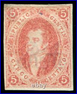 Momen Argentina Gj #16 1864 Imperf Mint Og H Vf Solari Cert