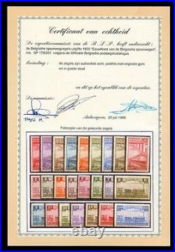 Momen Belgium Stamps #178-201 Mint Og Nh Railroad Railway With Blp Certificate
