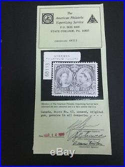 Momen Canada Stamps #63 $3 Jubilee Mint Og Nh Xf Aps Cert