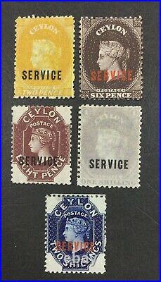 Momen Ceylon Sg #o1-o5 1869 Mint Og H £515 Lot #61687
