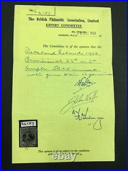 Momen Falkland Islands Sg #115 1928 Mint Og H Cert £1,300 Lot #63025