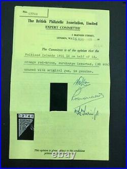 Momen Falkland Islands Sg #14 1891 Mint Og H Cert £700 Lot #63014