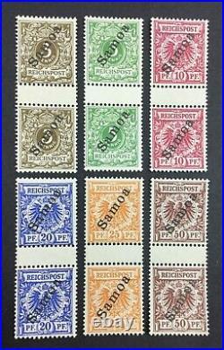 Momen German Colonies Samoa Sc #51-56 1900 Gutter Pairs Mint Og Nh Lot #62915