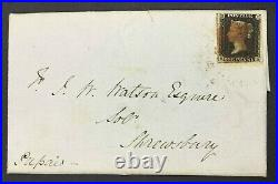 Momen Great Britain Sg #1 1840 Cover Imperf Penny Black Used Lot #63206