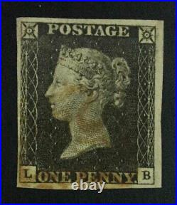 Momen Great Britain Sg #1 1840 Imperf Penny Black Used Lot #63200