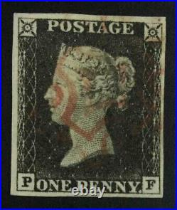Momen Great Britain Sg #1 1840 Imperf Penny Black Used Lot #63201