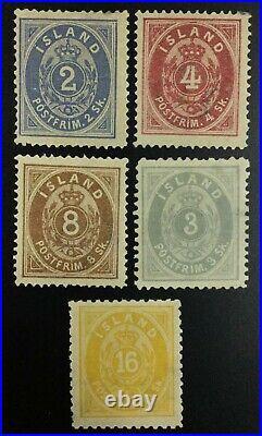 Momen Iceland Sc #1-3,5,7 1873 Mint Og H $2,165 Lot #62227