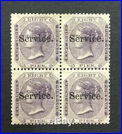 Momen India Sg #o8 1872 Block Mint Og 2nh/2h Lot #193643-2437