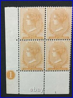 Momen Malta Sg #18 1882-4 Block Mint Og Nh Lot #194334-2828