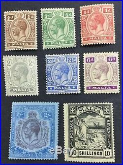 Momen Malta Sg #97-104 1921/22 Script Ca Mint Og 4nh/4lh Lot #60235