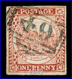 Momen New South Wales Sg #9 1850 Crimson Lake Imperf Used Lot #60284
