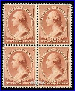 Momen US Stamps #211B Mint OG VF Block of 4 PF Cert