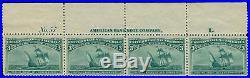 Momen US Stamps #232 Mint OG NH Plate Strip of 4 VF