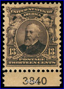 Momen US Stamps #308 PLATE SINGLE MINT OG NH XF