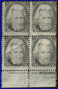 Momen US Stamps #93 Mint OG Plate Block of 4 Rare