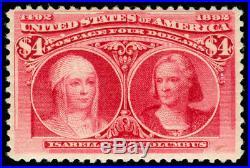 Momen Us Stamps #244 Mint Og H $4 Columbian