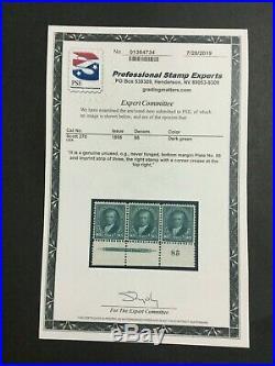 Momen Us Stamps #278 Mint Og Nh Plate Imprint Strip Of 3 Rarity Pse Cert