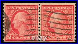 Momen Us Stamps #491 Coil Pair Used 2 Pf Certs Lot #70663