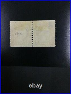 Momen Us Stamps #599a Coil Line Pair Used Lot #72323
