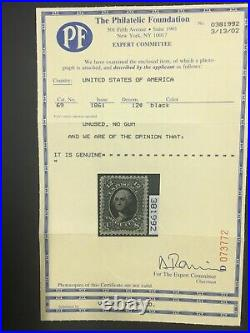 Momen Us Stamps #69 Unused Pf Cert Lot #71283