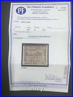 Momen Us Stamps Canal Zone #1 Used Pf Cert Lot #71361
