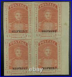 Momen Us Stamps Hawaii #11r-s Block Mint Og H Lot #72446