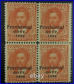 Momen Us Stamps Hawaii #72 Block Mint Og H Lot #72452