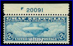 Momen Us Stamps #c15 Mint Og Nh Graf Zeppelin Plate Single