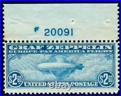 Momen Us Stamps #c15 Mint Ognh Graf Zeppelin Plate Single
